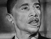 Barack Obama Charcoal Drawing