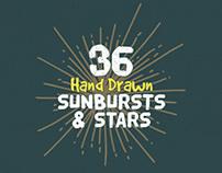 36 Hand Drawn Sunbursts & Stars