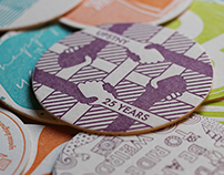 UPSTNY AIGA 25th anniversary letterpress coaster design