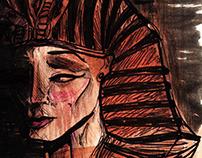 Forgotten Pharaoh illustration & Pillow Design