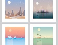 Minimalistic geometric desktop wallpaper landscape set