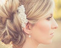 Romantic wedding hair updo and make-up