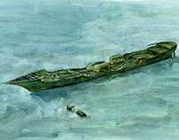 Artist's impression of North Sea shipwrecks