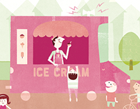 Mid Century Style Ice Cream Truck Illustration