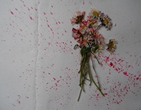 flowers with blood