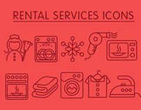 Rental services line icons