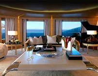 """ARA"" parchement leather table in ""Numptia"" superyacht"