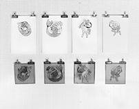 Half Human Lino Prints 2014