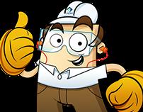 Mascote de segurança das mãos