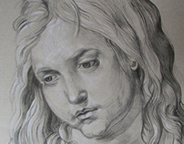 Young Jesus, reproduction after Dürer, aquarell