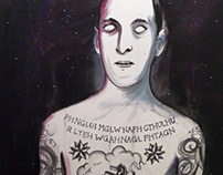 H.P. Lovecraft tattooed (painting)