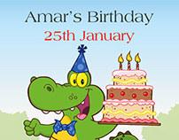 Alligator themed Birthday Invitation