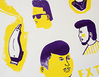 African Barber Shop riso print