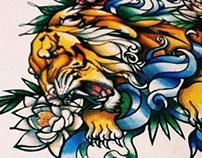 Tiger. sketch of tattoo