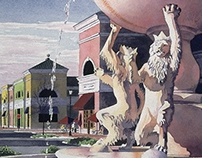 Dancing Lion Fountain, Phillips Place Illustration