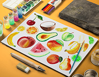 Watercolor Fruit Template in PNG & AI