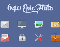 640 Flat icons + PixelDropr