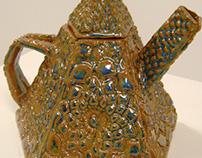 """Lotus"" Five-Sided Ceramic Teapot"