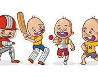 Sports Kid Stickers - Vector Illustrations