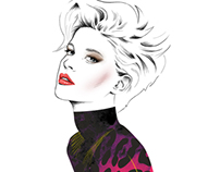Fashion Illustration / Girl with Pink Leopard Print