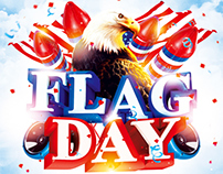 Flag day weekend party flyer, PSD Template