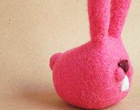 """""""Mr. (serious) Rabbit"""" felt toy art"""