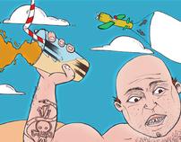 """Illustration """" O halterofilista que estava de férias""""."""
