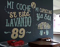 Wall Lettering in Car Wash 89, cafeteria and carwash.