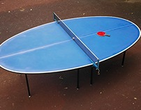 Oval table for playing table tennis