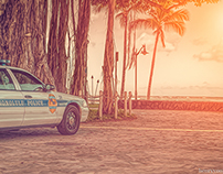 HONOLULU POLICE WAIKIKI BEACH SUNSET