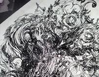 Dark Owl Line Abstraction