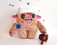 Sleepy Monster, soft art toy