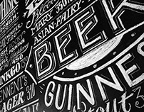 Chalk lettering for George Best Bar