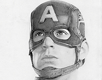 Chris Evans Portrait as Captain America by Julio Lucas