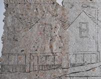 New houses mono print on handmade paper