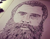 Ricki Hall Portrait -Drawn and Inked
