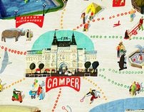 An advertising illustration for Camper