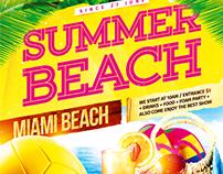 Summer beach party flyer, PSD Template
