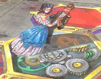 3D Music Box - Denver Chalk Art Festival 2014