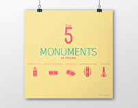 Cycling illustrations - Monuments of cycling