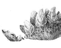 Estegosaurio con mira láser Poster