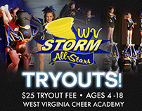 WV Cheer Academy Tryout Ad