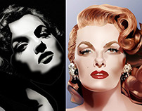 Jane Russell vector drawings by K. Fairbanks