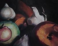 Still Life With Peach and Avocado