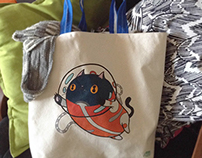 Handmade Space Cat tote