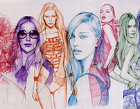 Ballpoint pen fashion illustration #1