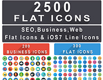 2500+ Flat Icons Bundle : iOS8 SEO Business Web Icons