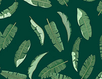 Tropical Banana leaf Patterns set