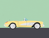 1950s Corvette Illustration