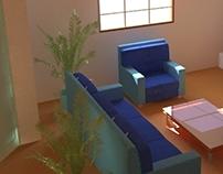 3D Living Room semi-textured